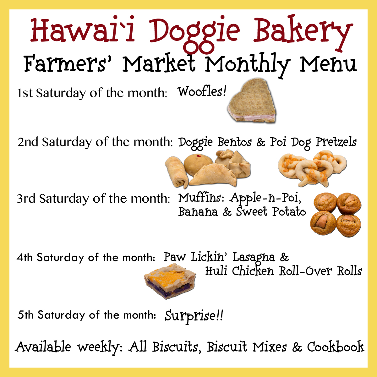 Farmers Market Monthly Menu!