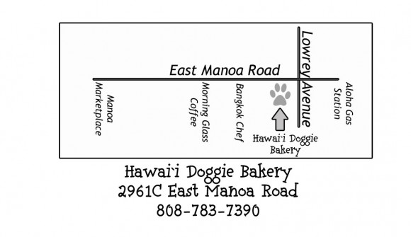 Map to Hawaii Doggie Bakery