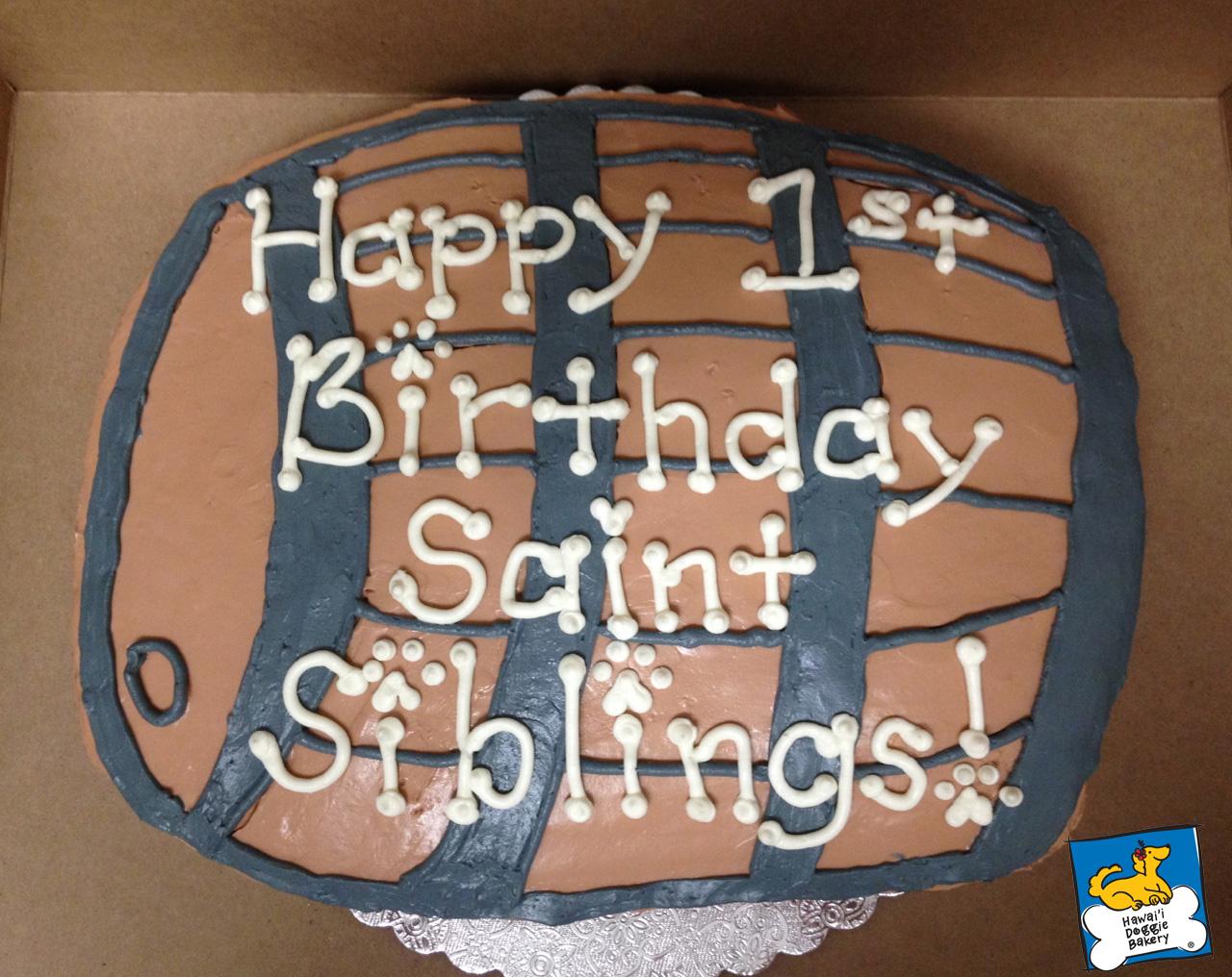 saint siblings doggie cake