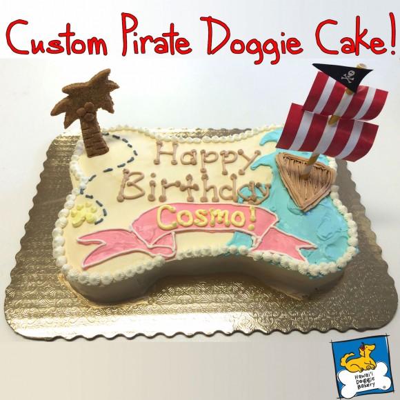 custom doggie pirate party cake - Hawaii doggie bakery